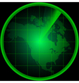 Radar screen with a silhouette of North America vector image