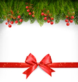 Christmas decoration with red gift bow vector image vector image