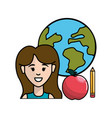 teacher with global planet apple and pencil vector image
