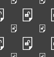 file unlocked icon sign Seamless pattern on a gray vector image