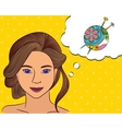 Girl think with speech bubble yarn mall vector image vector image