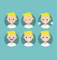 blonde pale man profile pics set of flat vector image