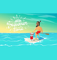 cute happy dog and hipster swimming on surfboard vector image