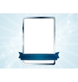 Blank white rectangle with silver frame and blue vector image
