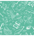 pattern with doodle mermaid and underwater set vector image vector image