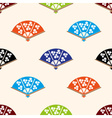asian hand fan various colors set seamless pattern vector image