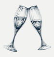 champagne glasses isolated new year party vector image