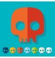 Flat design skull vector image