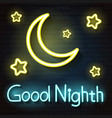 night moon neon sign vector image
