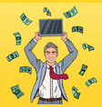 pop art businessman with laptop falling down money vector image