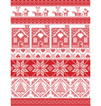 Tall xmas pattern with gingerbread house reindeer vector image