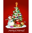 Christmas holidays card with snowman pine gifts vector image