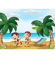 Two monkeys wearing a hawaiian attire vector image