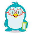 penguin with book character vector image