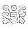 hand-drawn speech and thought bubbles on rice vector image