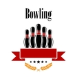 Bowling heraldic banner with ninepins vector image vector image