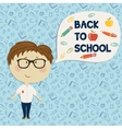 Young boy in glasses holding say back to school vector image