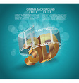 3D word in golden glass with cinema roll vector image vector image