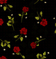 seamless floral pattern with red roses on black vector image vector image