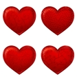 Red hearts 3d simple icon made with meshes vector image vector image
