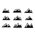 black mountain icons set vector image