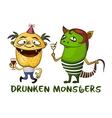 Drunken Cartoon Monsters Set vector image