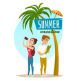 Concept with tourists and palm summer vacation vector image