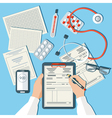 Doctors Workplace Medical Doctor Working in Clinic vector image
