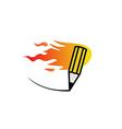 Fast fire pencil logo vector image