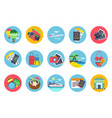 travel icons set in colored circle shapes vector image