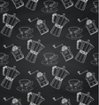 Vintage Chalk Drawing Seamless Pattern on Board vector image
