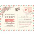 Vintage postcard background for wedding invitation vector image