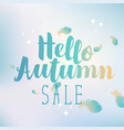 banner hello autumn sale with feathers vector image
