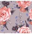 Vintage Seamless Background with Roses vector image vector image