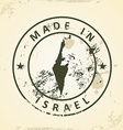 Stamp with map of Israel vector image