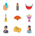 make-up artist icons set cartoon style vector image