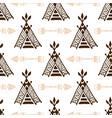seamless wigwam pattern with arrows hand-drawn vector image