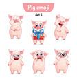 set of cute pig characters set 2 vector image