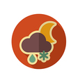 Cloud Snow Rain Moon retro flat icon Weather vector image
