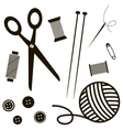 black sewing and knitting tools vector image