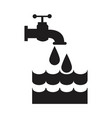 black silhouette house faucet with drop and water vector image