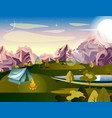 camping in the mountains vector image