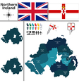 Northern Ireland map with regions vector image
