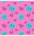 Seamless pattern with funny bunny faces vector image