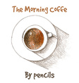 cup of coffe by color pencils vector image