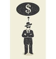 thinking about money vector image vector image