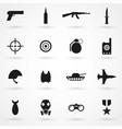 war icons set black on white background vector image