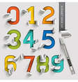 Alphabet number paper cut colorful font style vector image