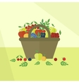 Card with fruits and berries in flat style vector image