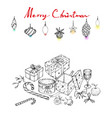 hand drawn of lovely christmas ornaments and gifts vector image